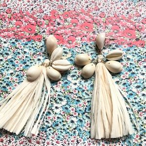 Hammered sea shell 🐚 tassels earrings